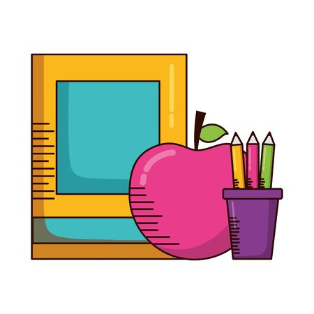 book apple pencils school supplies vector illustration design