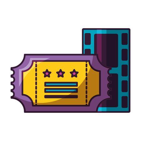 film strip and ticket cinema movie vector illustration