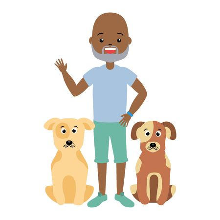 african american man and pets dogs vector illustration