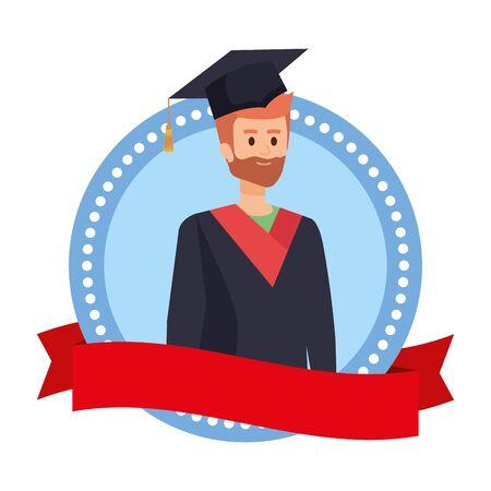 man student graduated with beard in emblem vector illustration design