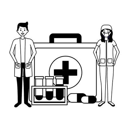 medical doctors suitcase medicine chemical flasks vector illustration Ilustrace