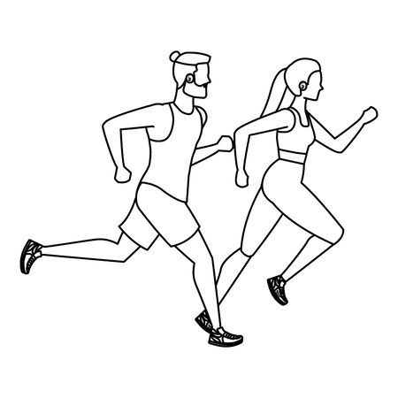 young athletic couple running characters vector illustration design