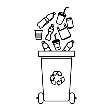 recycler les déchets avec des produits en plastique vector illustration design