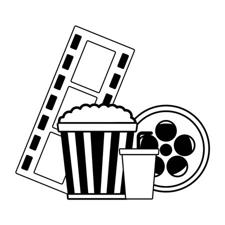 pop corn reel soda cinema movie vector illustration Ilustração