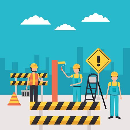 workers construction painting wall barrier vector illustration Ilustração