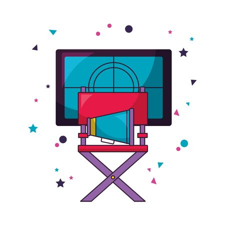 chair director speaker countdown cinema movie vector illustration