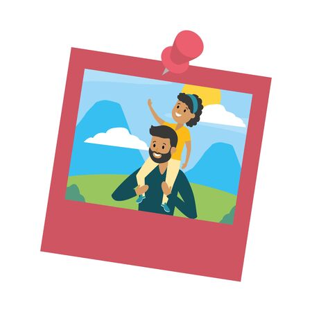 photo family father carrying her daughter on shoulders vector illustration design Banque d'images - 129235447