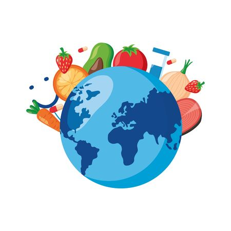 fruits vegetables medical products world health day vector illustration