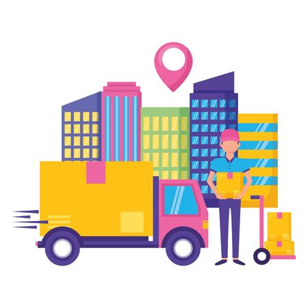 man and truck cardboard box destination city fast delivery vector illustration Banque d'images - 129225544