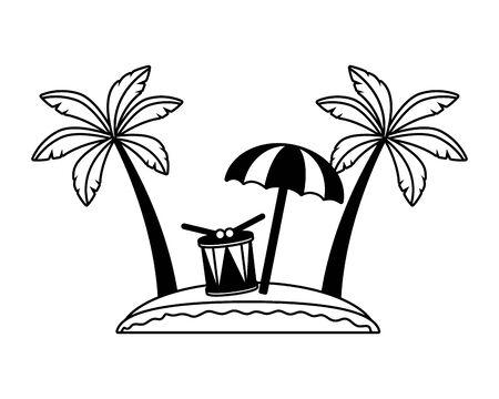 beach drum palm umbrella sand brazil carnival vector illustration