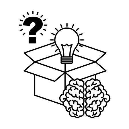 Ampoule de stockage point d'interrogation cerveau créativité idée vector illustration