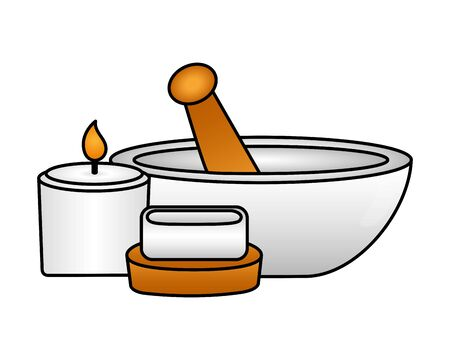 mortar candle soap spa treatment therapy vector illustration