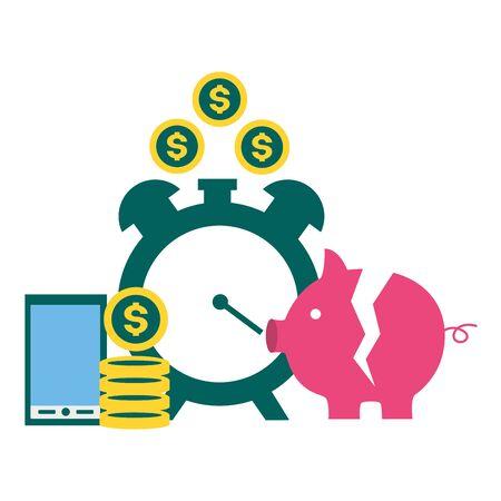 piggy bank clock phone money tax time payment vector illustration 向量圖像