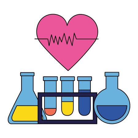 medical flasks beaker heartbeat clinic vector illustration