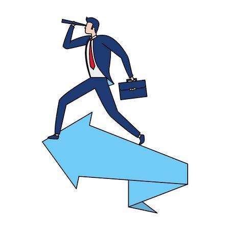 businessman looking telescope arrow growth business success vector illustration 向量圖像