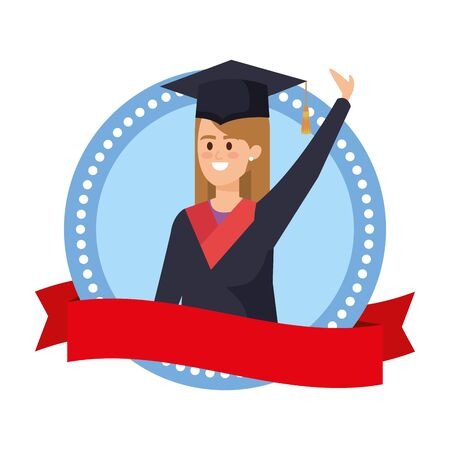 woman student graduated celebrating in emblem with ribbon vector illustration 向量圖像