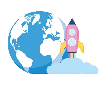 world rocket launching on white background vector illustration