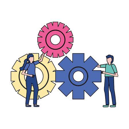 business people gears cooperation vector illustration design Ilustracja