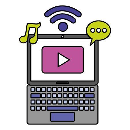 laptop social media internet chat music video vector illustration Foto de archivo - 129226249