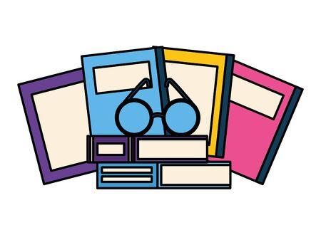 world book day eyeglasses literature white background vector illustration