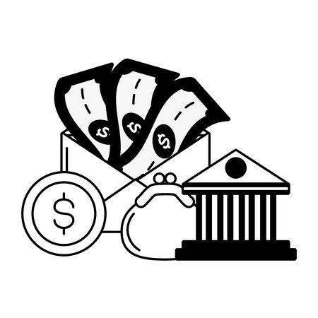 bank purse money online payment vector illustration Illustration