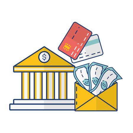 bank cards money transfer online payment vector illustration