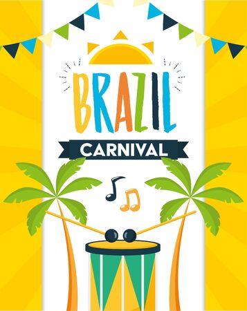drum palms brazil carnival festival celebration poster vector illustration