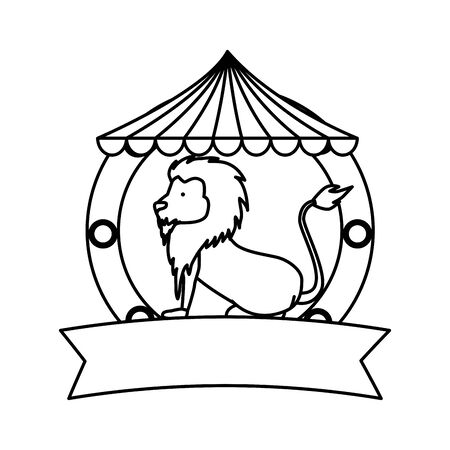 circus lion domesticated in tent vector illustration design