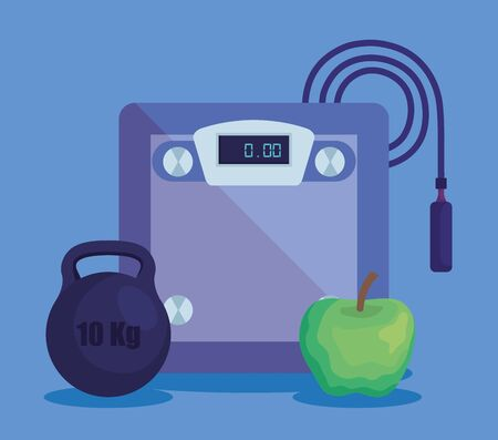 weighing machine with weight and apple with jumping rope to fitness lifestyle, vector illustration