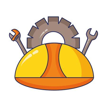 helmet spanner gear construction tool vector illustration