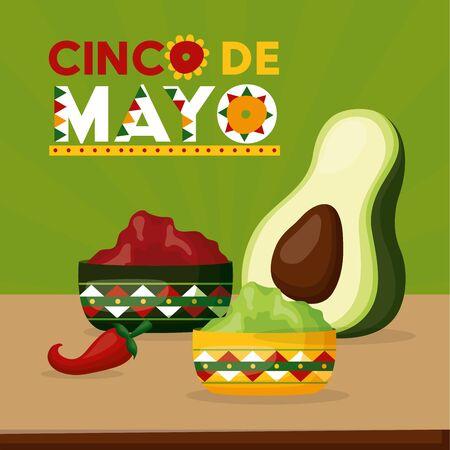 avocado guacamole mexico cinco de mayo vector illustration Illustration