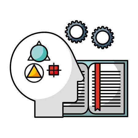 head strategy brain book creativity idea vector illustration
