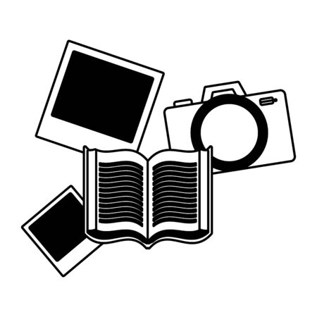 book camera photos on white background vector illustration