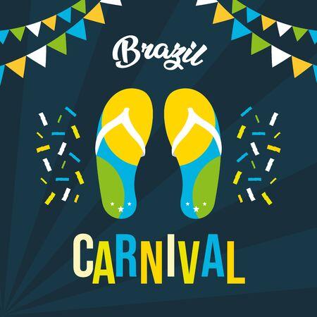 flip flops garland confetti poster brazil carnival festival vector illustration Archivio Fotografico - 129235589