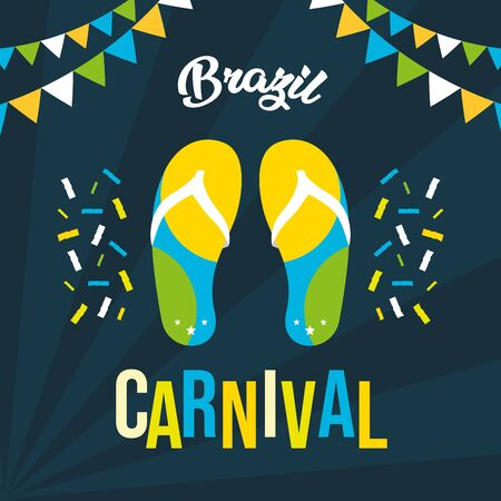 flip flops garland confetti poster brazil carnival festival vector illustration Illusztráció