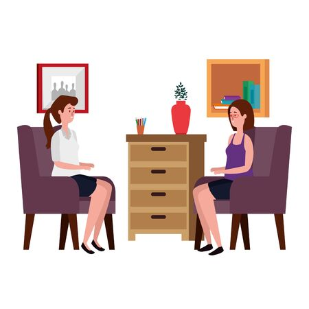 women in living room place scene vector illustration design