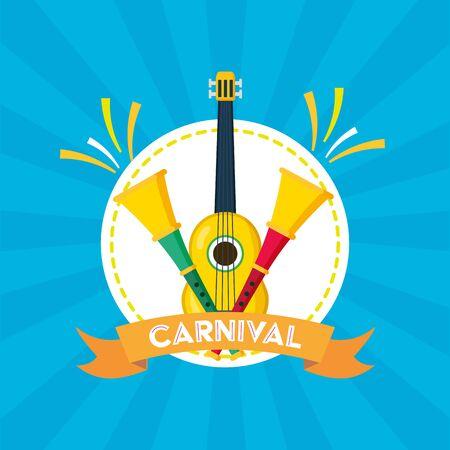 guitar and horns musical brazil carnival festival vector illustration Иллюстрация