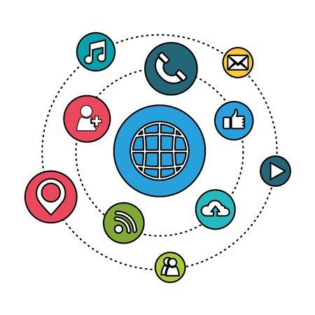 Social media and multimedia icon set, Apps communication digital marketing and internet theme Vector illustration
