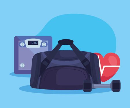 weighing machine with bag and dumbbell with heartbeat over blue background, vector illustration  イラスト・ベクター素材