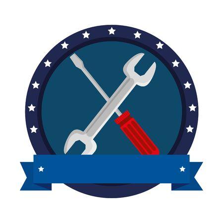 wrench and screwdriver tools crossed vector illustration design Illusztráció