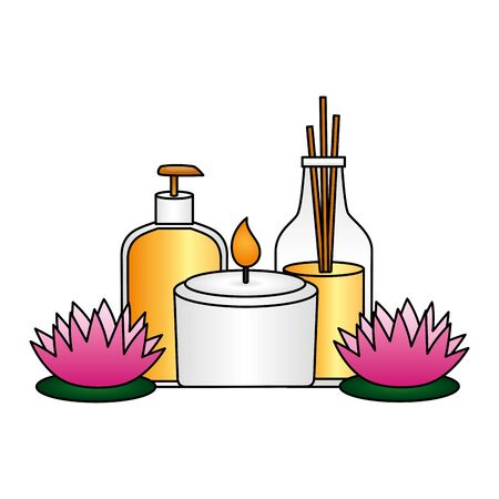 lotion oil bottles candle flowers spa treatment therapy vector illustration Banco de Imagens - 129230597