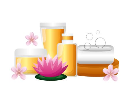 bottles products skin care soap spa treatment therapy vector illustration 写真素材 - 129230614