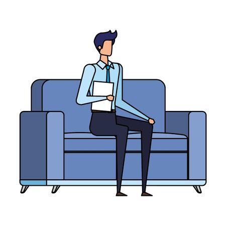 elegant businessman worker in the livingroom vector illustration design Ilustracja