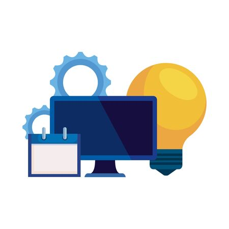 desktop computer with bulb and calendar vector illustration design Ilustrace