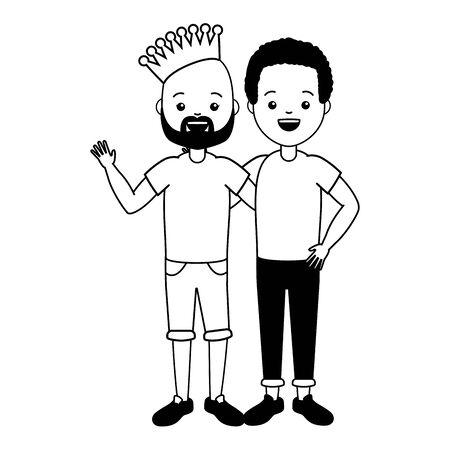 happy couple men lgbt pride vector illustration Stockfoto - 129230661