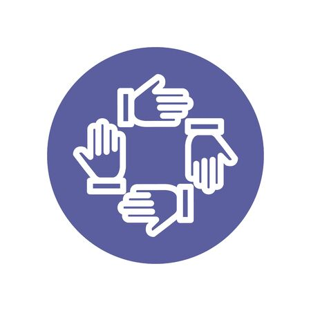 teamwork people hands around icons vector illustration design