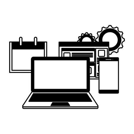 Ordenador portátil con página web y diseño de ilustraciones vectoriales de teléfonos inteligentes Ilustración de vector