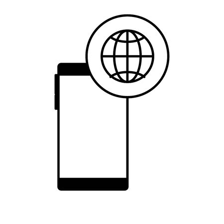 smartphone with sphere browser icons vector illustration design