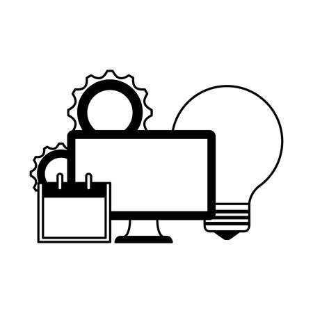 desktop computer with bulb and calendar vector illustration design Ilustrace