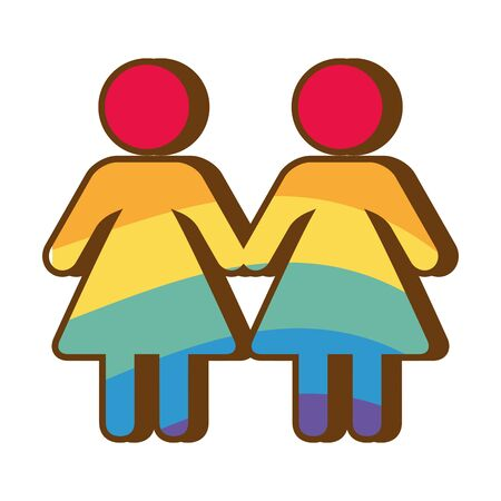 couple colors rainbow lgbt pride love vector illustration
